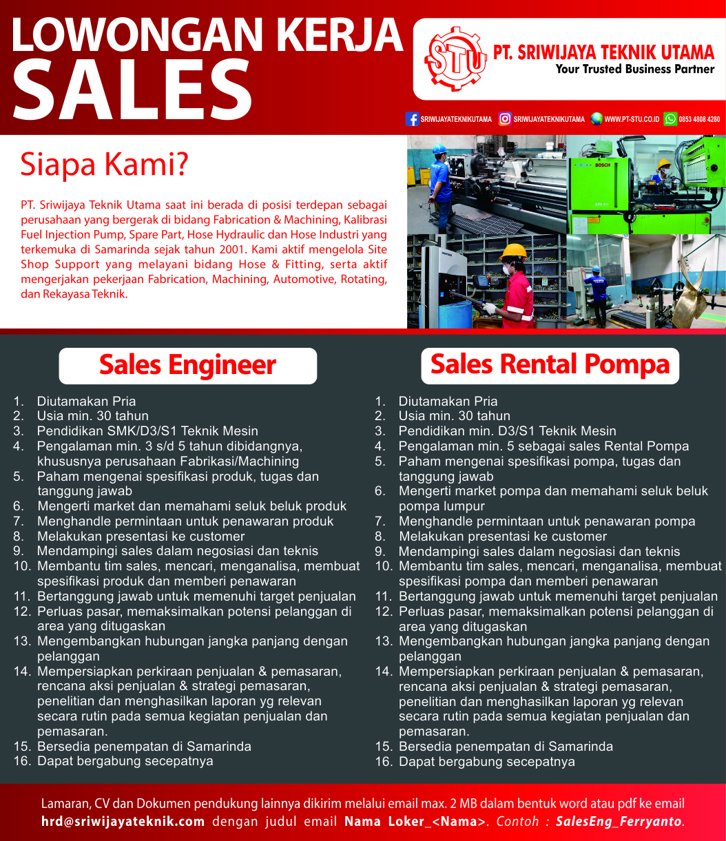 Sales engineer rental pompa